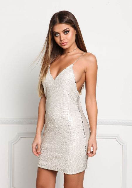 Cream Sequin Slip Shift Dress