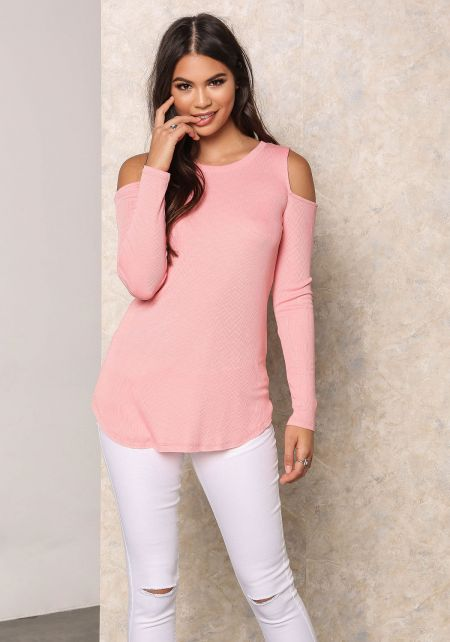 Salmon Ribbed Knit Cold Shoulder Top
