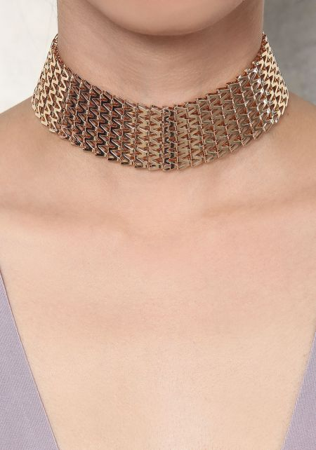Gold Metal Cut Out Thick Choker