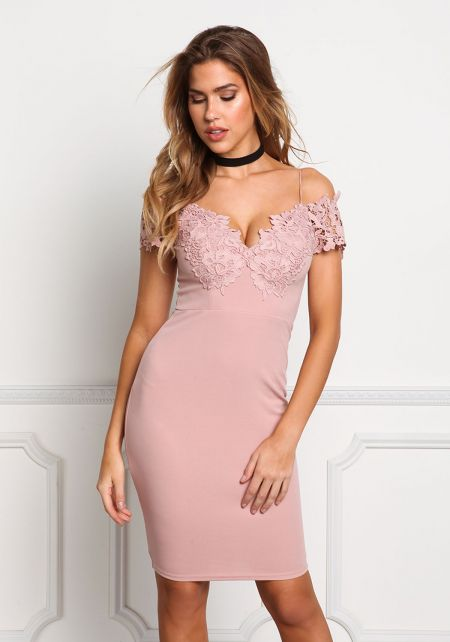 Mauve Floral Embroidered Off Shoulder Bodycon Dres