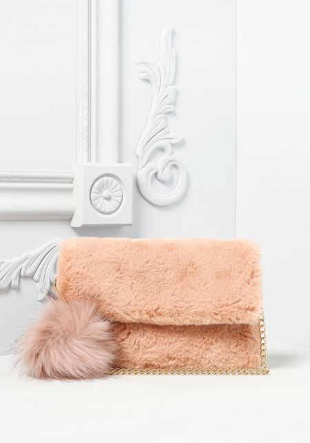 Blush Faux Fur Pom Pom Clutch