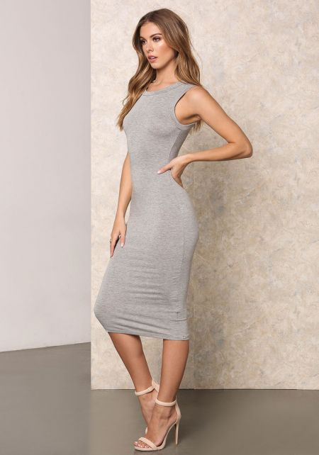 Heather Grey Jersey Knit Midi Dress