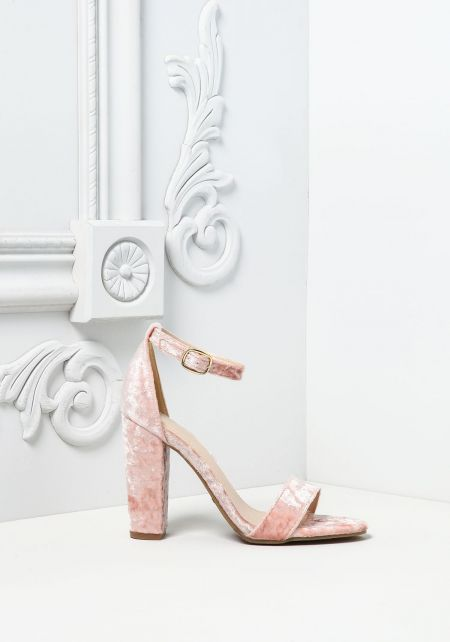 Blush Crushed Velvet Thick Ankle Strap Heels