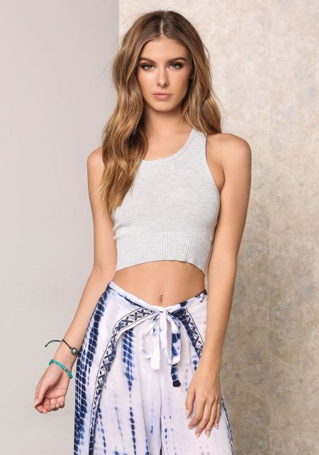 Heather Grey Thick Ribbed Knit Crop Top