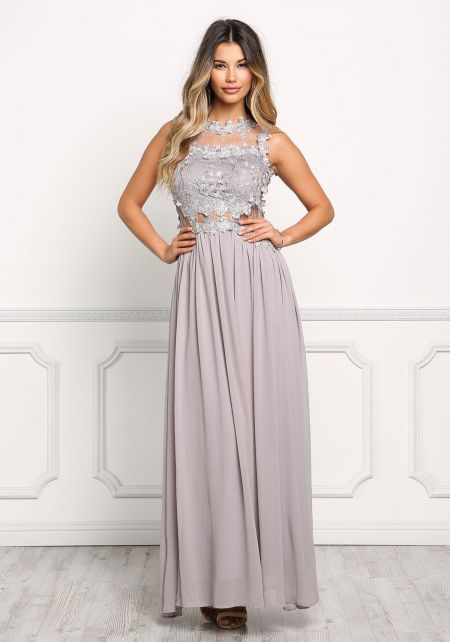 Light Grey Floral Applique Tulle Maxi Gown
