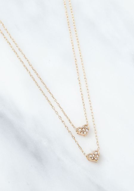 Gold Hearts Delicate Double Necklace