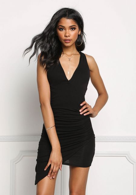 Black Ruched Plunge Bodycon Dress