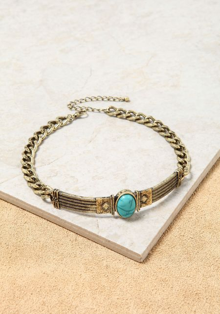 Turquoise Thick Chain Stone Choker