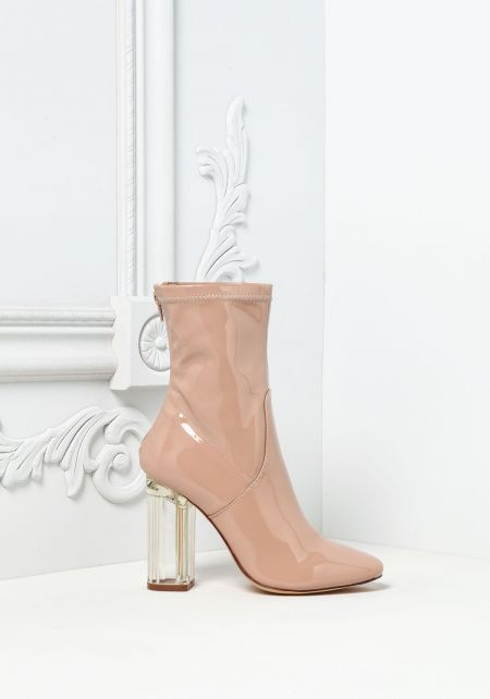 Nude Patent Clear Heel Booties