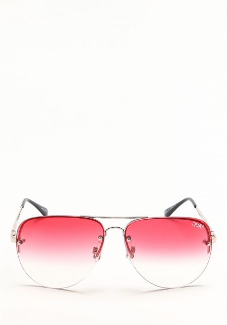 Quay Muse Fade Sunglasses in Silver and Red