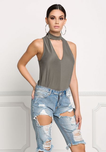Olive Choker Plunge Tank Top