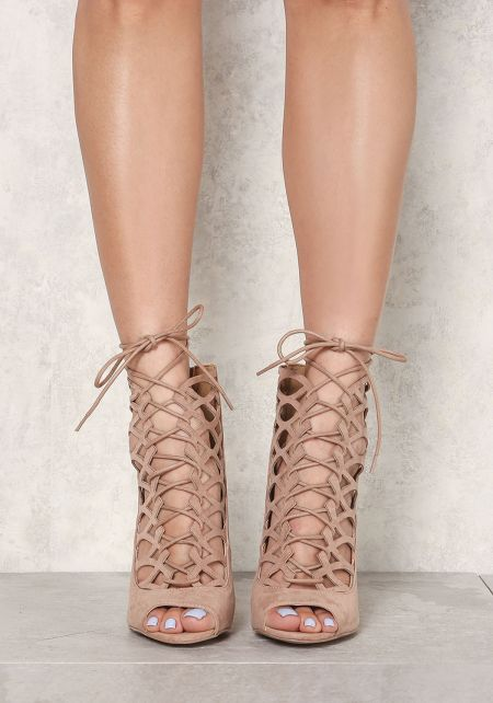 Taupe Suedette Laser Cut Lace Up Heels