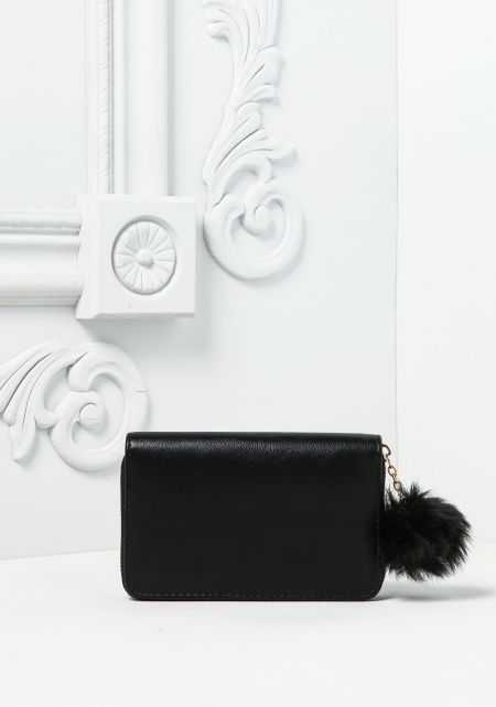 Black Medium Sized Leatherette Pom Pom Wallet
