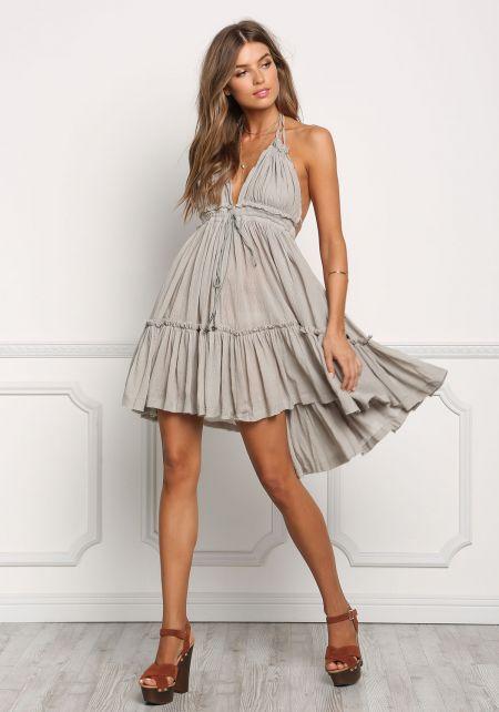 Sage Crepe Hi-Lo Open Back Dress