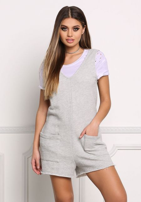 Light Grey French Terry Boxy Romper