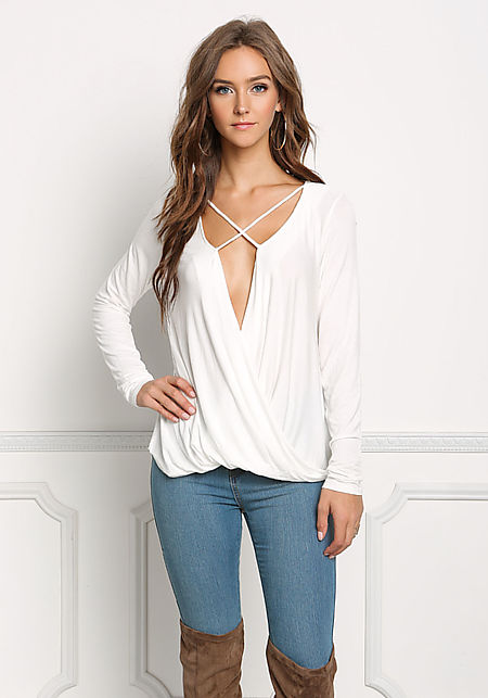 Ivory Jersey Knit Plunge Cross Strap Top