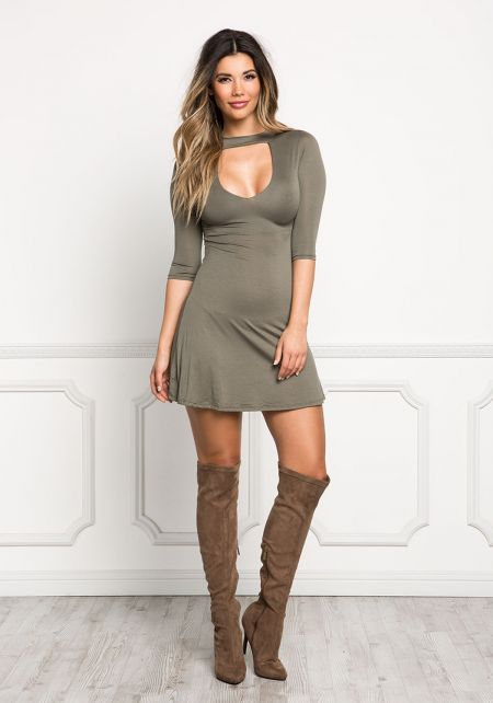 Olive Jersey Knit Choker Flared Dress