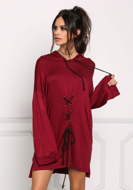 Burgundy Front Lace Up Hooded Shift Dress