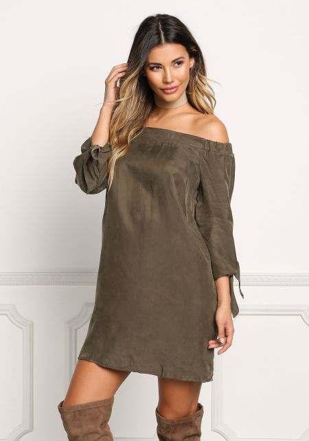 Olive Suedette Off Shoulder Shift Dress