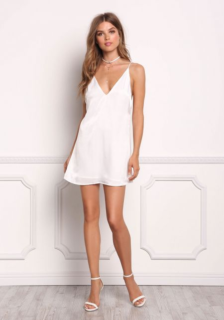 White Lustrous Low Back Cami Dress
