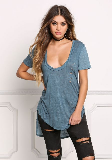 Dusty Blue Distressed Hi-Lo Tee Shirt