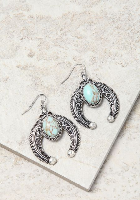 Turquoise Curved Engraved Stone Earrings