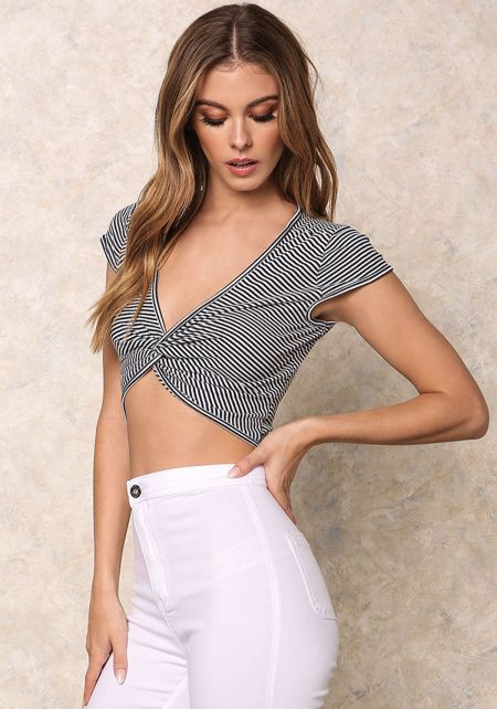 Navy Twisted Stripe Crop Top