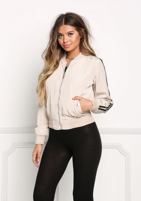 Cream Striped Bomber Jacket