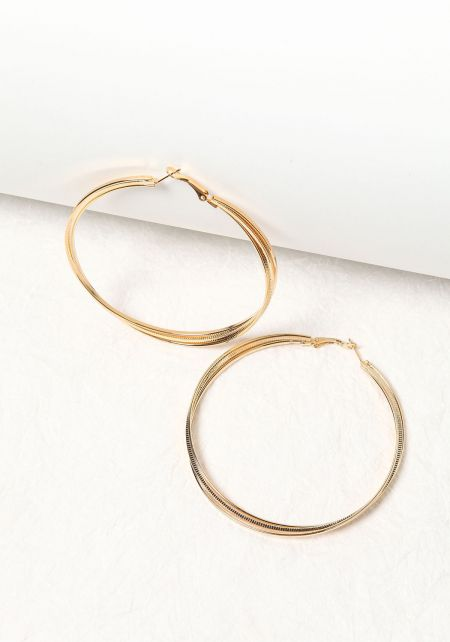 Gold Thick Textured Hoop Earrings