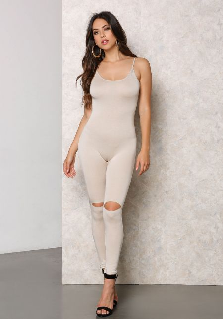 Sand Jersey Knit Knee Slit Low Back Jumpsuit