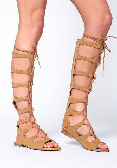 Tan Cut Out Gladiator Sandals
