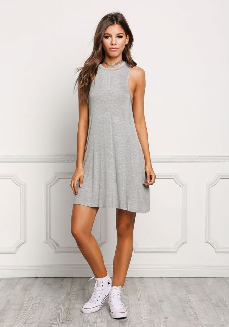 Heather Grey Jersey Knit Tank Shift Dress