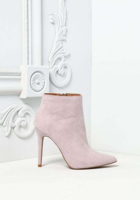 Lavender Suedette Pointed Toe Booties