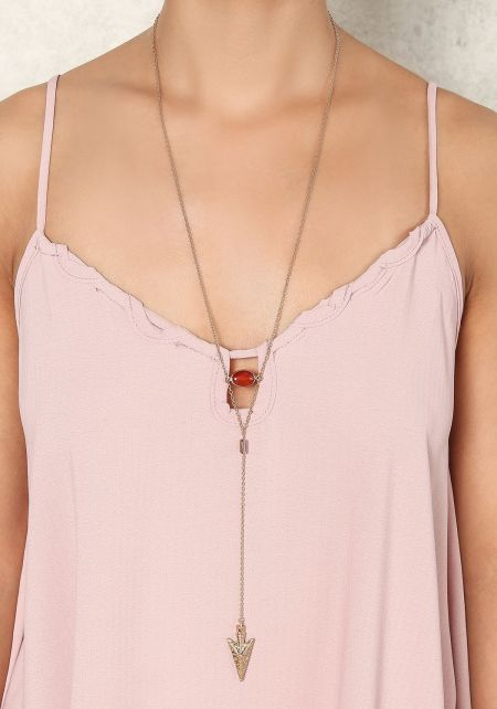 Red Delicate Arrow & Stone Necklace
