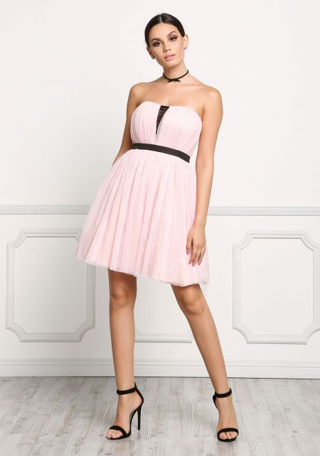 Pink Strapless Tulle Flare Dress