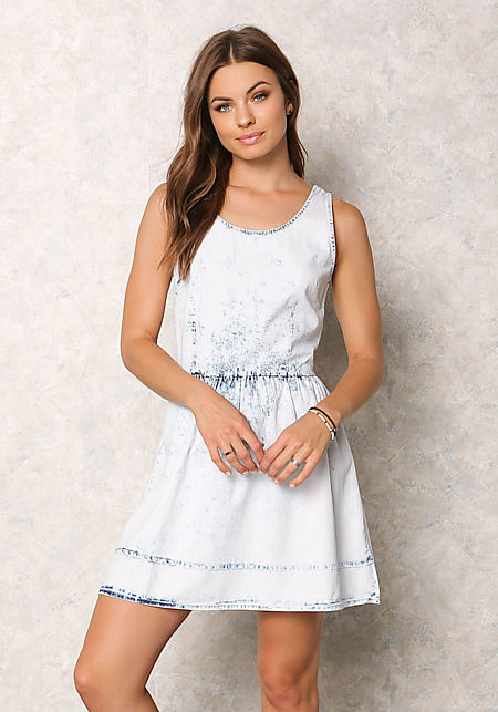 Light Denim Acid Wash Lace Up Dress