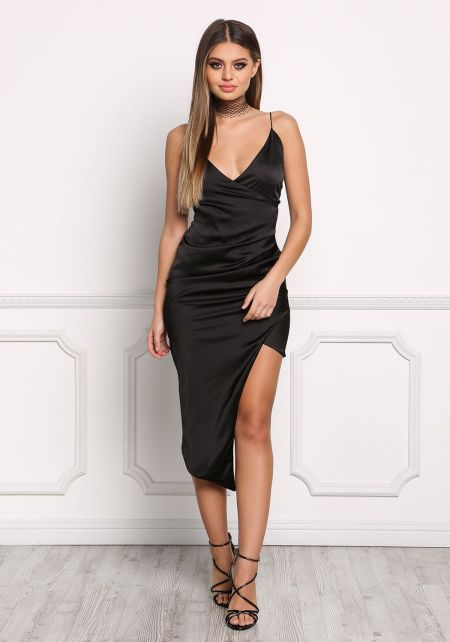 Black Satin Surplice High Slit Dress