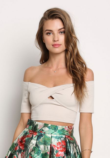 Oatmeal Twisted Off Shoulder Crop Top