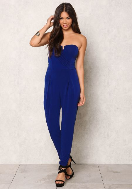 Navy Blue Ruched & Pleated Strapless Jumpsuit