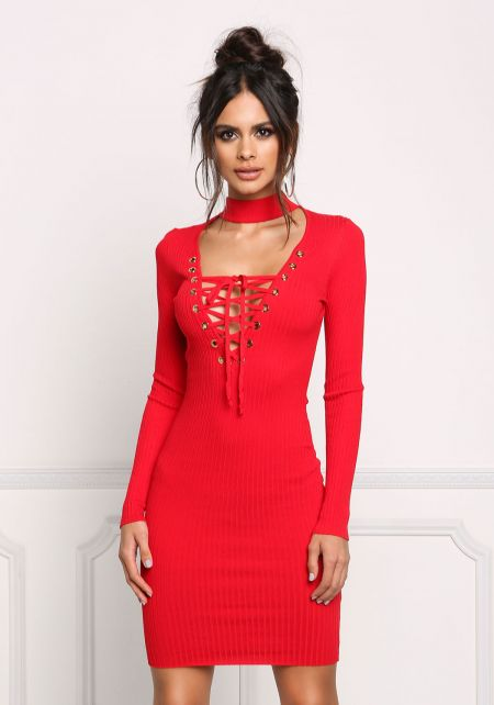 Red Ribbed Knit Choker Lace Up Bodycon Dress