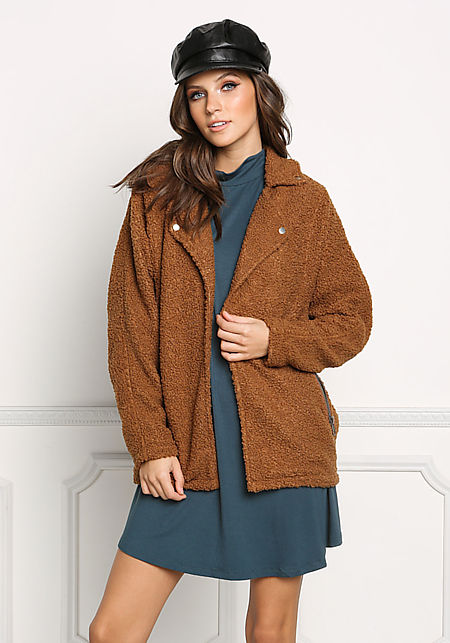 Brown Soft Textured Knit Jacket