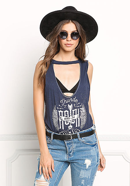 Navy Plunge Graphic Tank Top