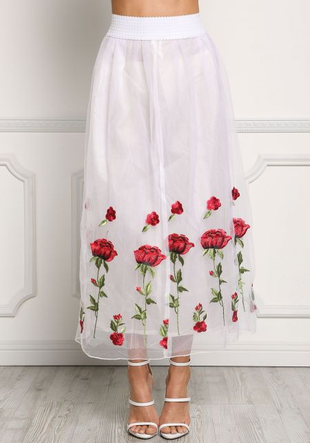 White Tulle Rose Embroidered A-Line Skirt