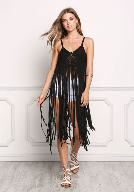 Black Woven Knit Fringe Tank Top