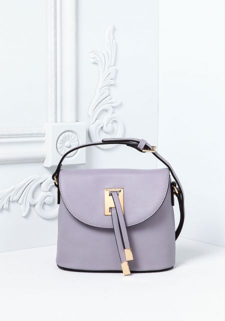 Purple Leatherette Square Crossbody Bag