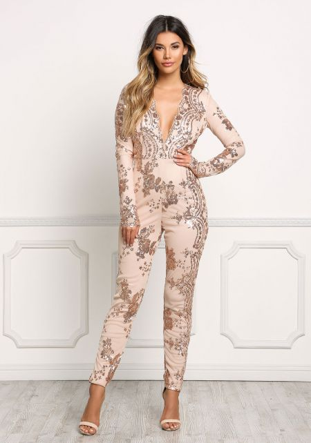 Rose Gold Plunge Sequin Sheer Jumpsuit