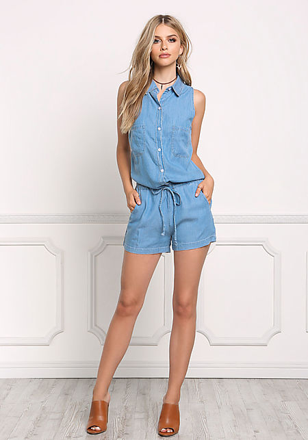 Denim Collared Button Down Romper