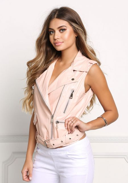 Pink Leatherette Zipper Trim Vest