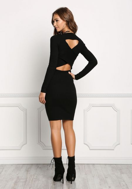 Black Crossover Cut Out Bodycon Dress