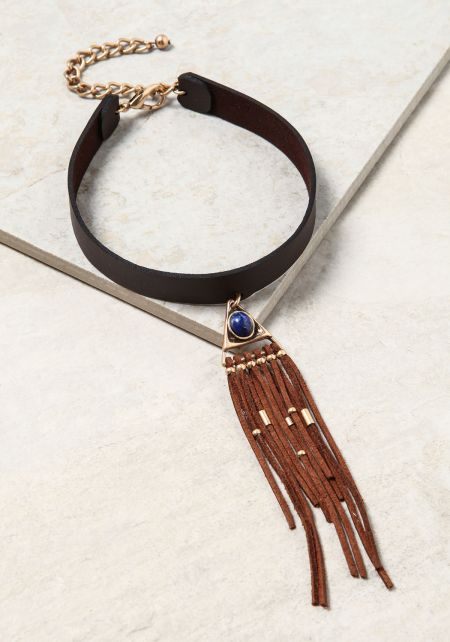 Brown Leatherette Triangle Pendant Fringe Choker